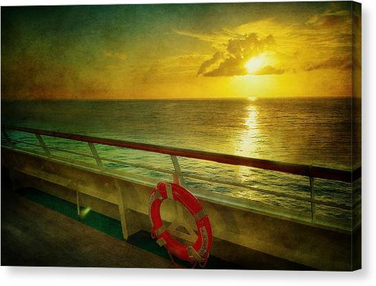 Aboard The Ship Canvas Print by Kathy Jennings