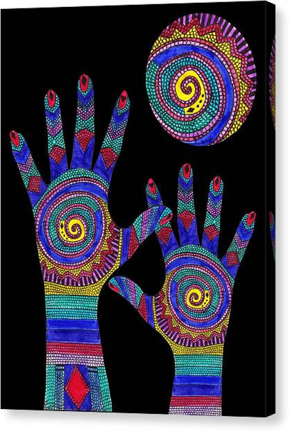 Aboriginal Hands To The Sun Canvas Print