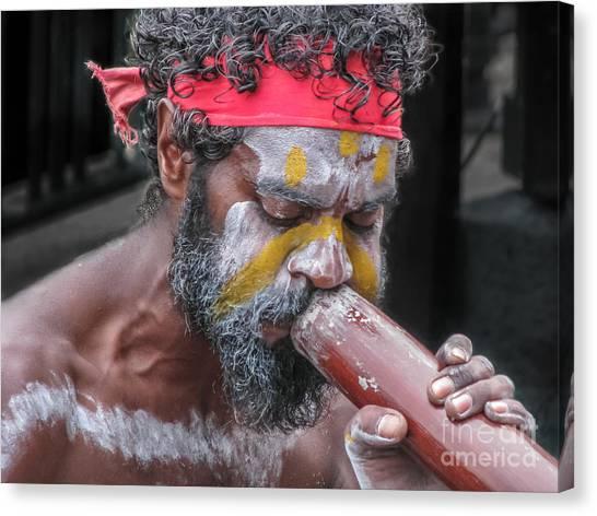Aboriginal Playing Didgeridoo Canvas Print