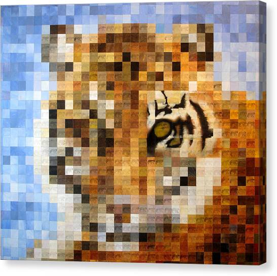 Pixelated Canvas Print - About 400 Sumatran Tigers Acrylic On Paper by Charlie Baird