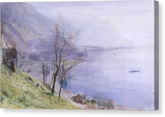 Alpine Canvas Print - Above Montreux by John William Inchbold