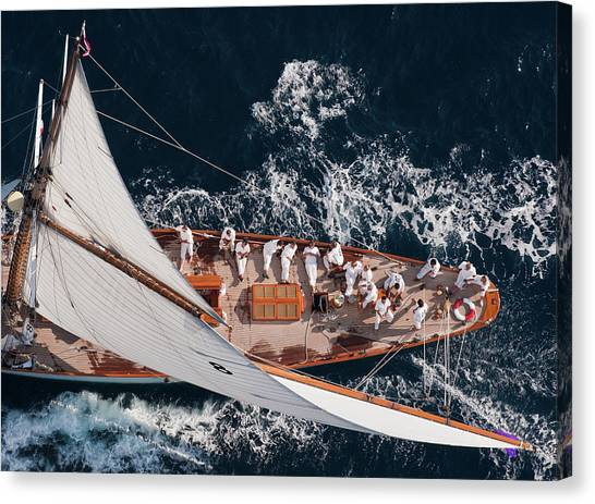 Yacht Canvas Print - Above Moonbeam by Marc Pelissier