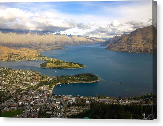 Chairlift Canvas Print - Above Queenstown by Stuart Litoff