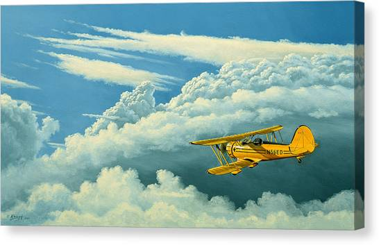 Biplane Canvas Print - Above The Clouds-waco Biplane by Paul Krapf