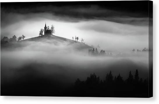 Church Canvas Print - Above The Mist by Sandi Bertoncelj