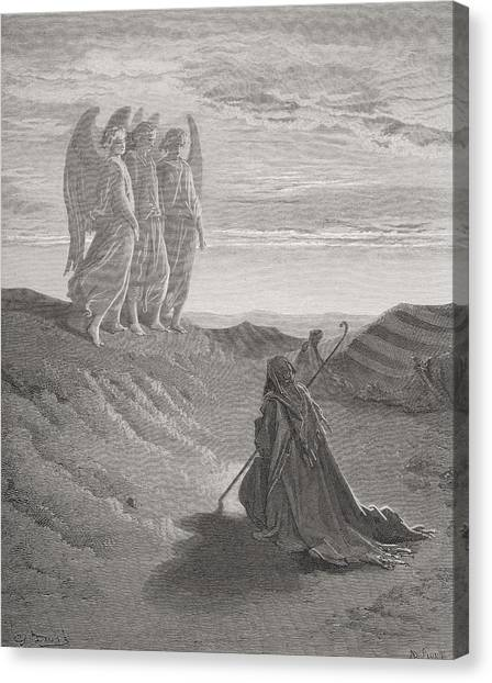 Apparition Canvas Print - Abraham And The Three Angels by Gustave Dore