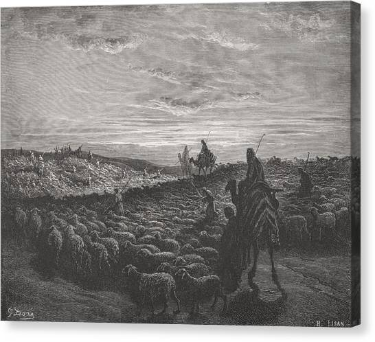 Holy Bible Canvas Print - Abraham Journeying Into The Land Of Canaan by Gustave Dore