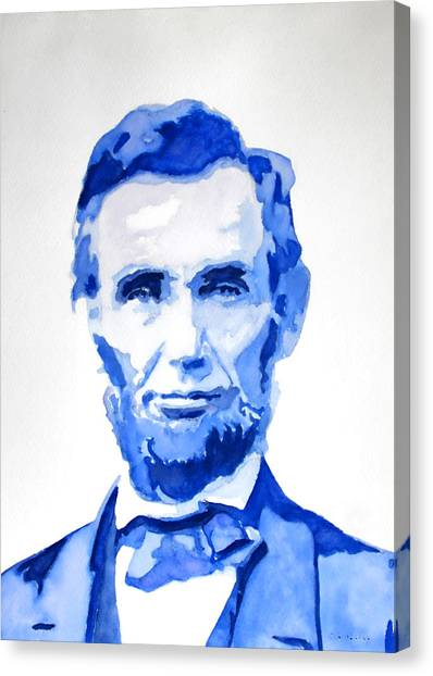 Abraham Lincoln A Study In Blue Canvas Print