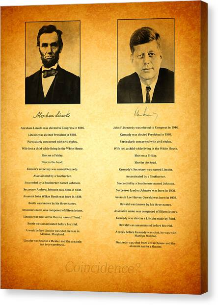 John F. Kennedy Canvas Print - Abraham Lincoln And John F Kennedy Presidential Similarities And Coincidences Conspiracy Theory Fun by Design Turnpike