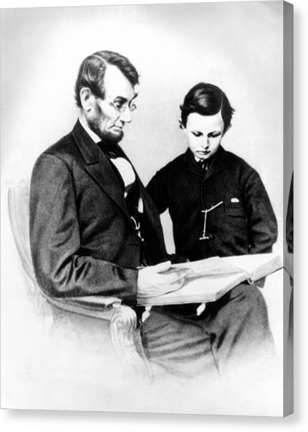 Republican Politicians Canvas Print - Abraham Lincoln And Tad by Anonymous