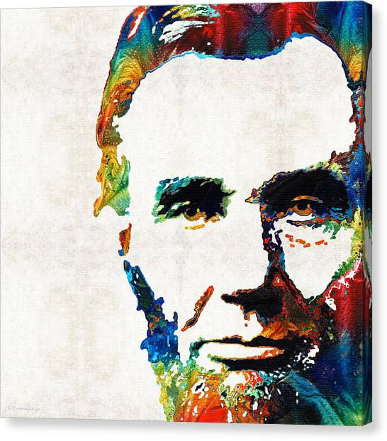Racism Canvas Print - Abraham Lincoln Art - Colorful Abe - By Sharon Cummings by Sharon Cummings