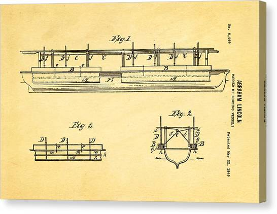 Household Canvas Print - Abraham Lincoln Buoyancy Patent Art 1849 by Ian Monk