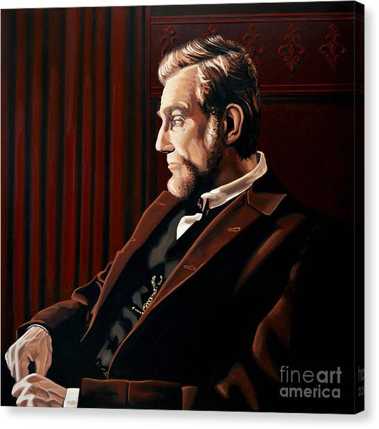 Racism Canvas Print - Abraham Lincoln By Daniel Day-lewis by Paul Meijering