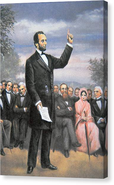 Republican Presidents Canvas Print - Abraham Lincoln Delivering The Gettysburg Address by American School