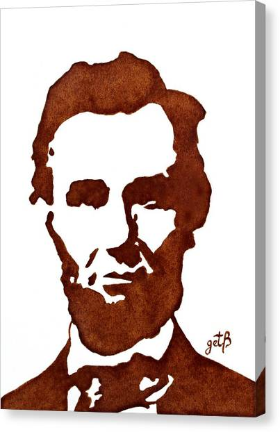Canvas Print featuring the painting Abraham Lincoln Original Coffee Painting by Georgeta  Blanaru