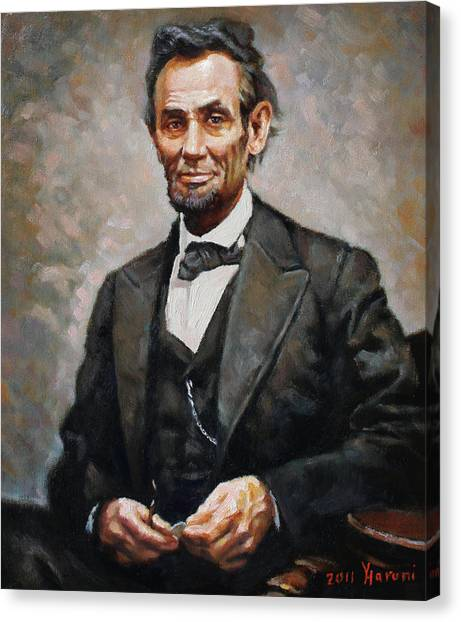 Oil On Canvas Print - Abraham Lincoln by Ylli Haruni