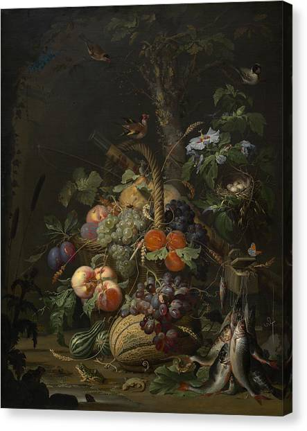Still Life With Fish Canvas Print - Abraham Mignon Still Life With Fruit Fish And A Nest C 1675 by MotionAge Designs