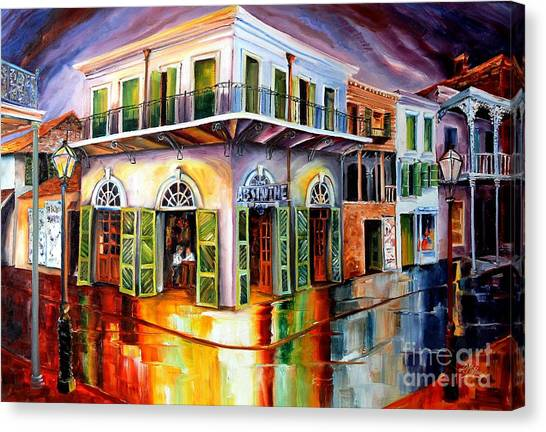 Streetlights Canvas Print - Absinthe House New Orleans by Diane Millsap