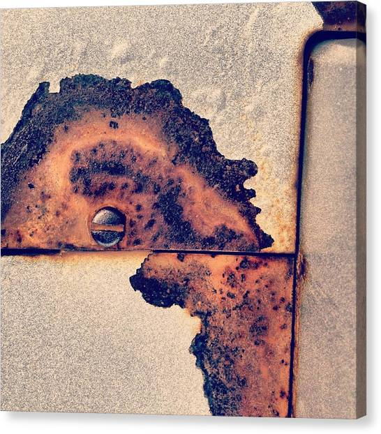 White Canvas Print - Absract Rust by Christy Beckwith