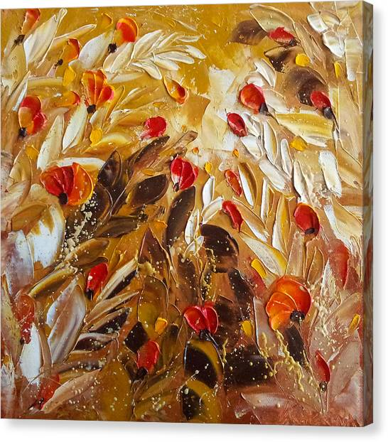 Abstact Red Flower Painting On Caramel By Ekaterina Chernova Canvas Print