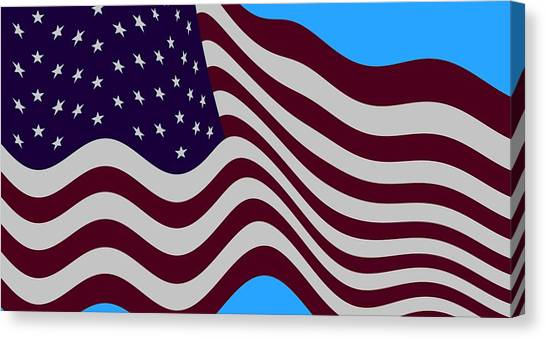 Joe Biden Canvas Print - Abstract Burgundy Grey Violet 50 Star American Flag Flying Cropped by L Brown