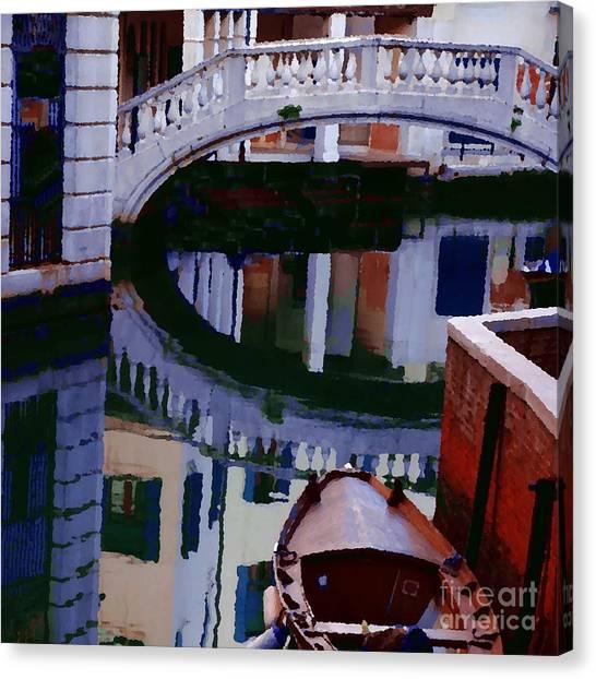 Abstract - Venice Bridge Reflection Canvas Print by Jacqueline M Lewis