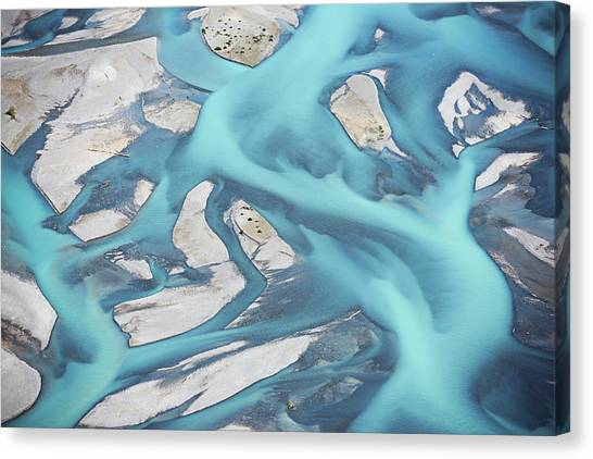 Abstract Aerial View Of River Bed Canvas Print by Laurenepbath