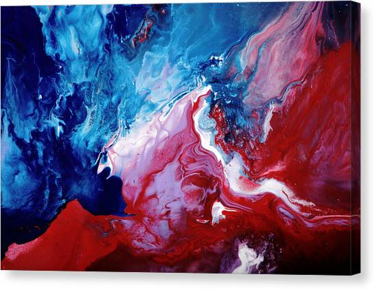 Abstract Art Blue Red White By Kredart Canvas Print