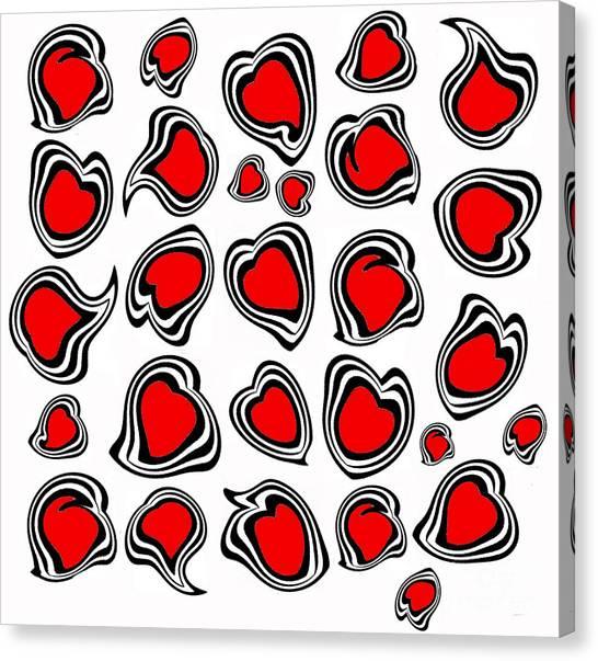 Hearts Black White Red No.386. Canvas Print by Drinka Mercep