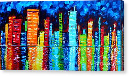 Canvas Print - Abstract Art Landscape City Cityscape Textured Painting City Nights II By Madart by Megan Duncanson