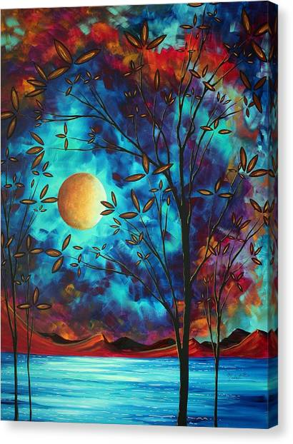 Canvas Print - Abstract Art Landscape Tree Blossoms Sea Moon Painting Visionary Delight By Madart by Megan Duncanson