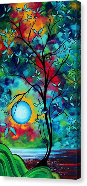 Canvas Print - Abstract Art Landscape Tree Blossoms Sea Painting Under The Light Of The Moon I  By Madart by Megan Duncanson