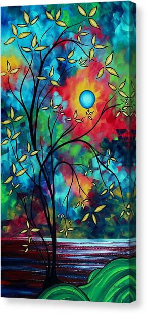 Canvas Print - Abstract Art Landscape Tree Blossoms Sea Painting Under The Light Of The Moon II By Madart by Megan Duncanson
