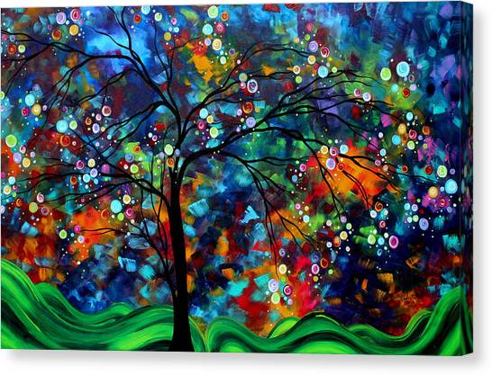 Abstract Designs Canvas Print - Abstract Art Original Landscape Painting Bold Colorful Design Shimmer In The Sky By Madart by Megan Duncanson