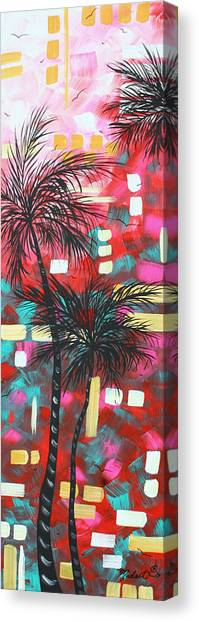 Carribbean Canvas Print - Abstract Art Original Tropical Landscape Painting Fun In The Tropics By Madart by Megan Duncanson