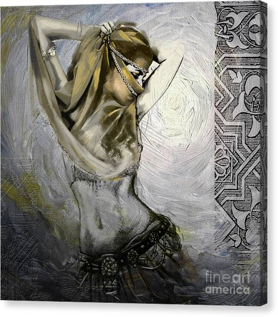 Abstract Belly Dancer 12 Canvas Print by Mahnoor Shah