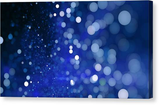 Abstract Blue Bokeh Sparkling Spray Circle Canvas Print by Oxygen