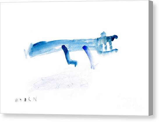 Crocodiles Canvas Print - Abstract Blue Crocodile Art Print Watercolor Painting by  Szmerdt