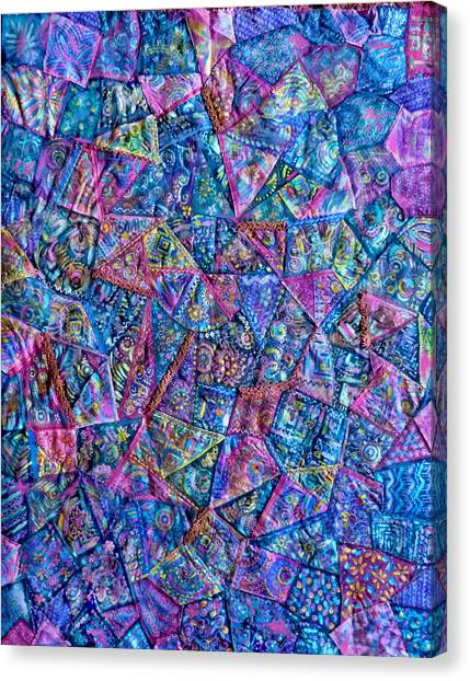 Abstract Blue Rose Quilt Canvas Print