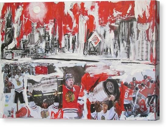 Patrick Kane Canvas Print - Abstract Chicago Skyline Blackhawks Championship by John Sabey Jr