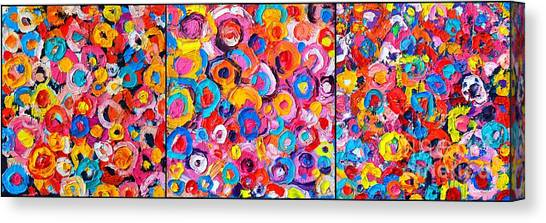 Abstract Colorful Flowers Triptych  Canvas Print