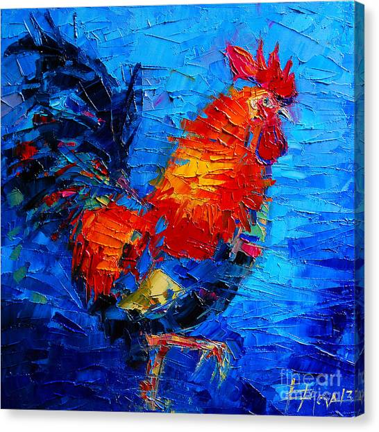 Abstract Colorful Gallic Rooster Canvas Print