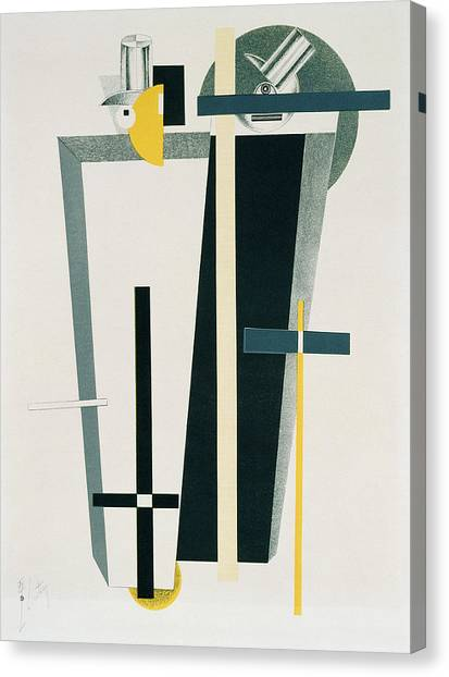De Stijl Canvas Print - Abstract Composition In Grey, Yellow by Eliezer Markowich Lissitzky
