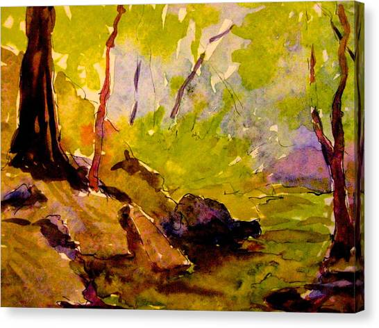 Abstract Creek In Woods Canvas Print