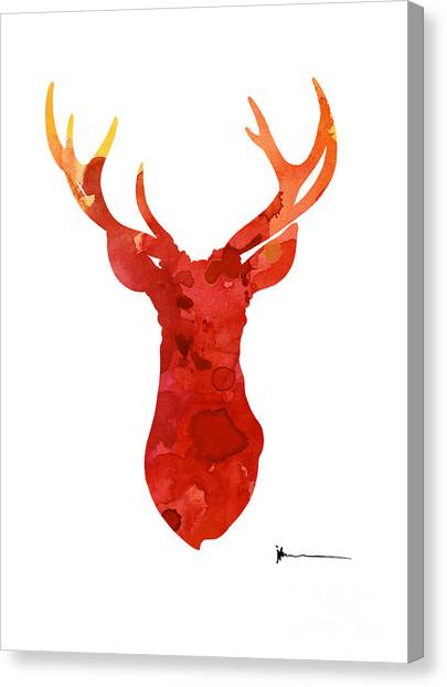 Watercolor Canvas Print - Abstract Deer Antlers Silhouette Watercolor Paintng by Joanna Szmerdt