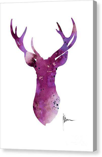 Purple Canvas Print - Abstract Deer Head Artwork For Sale by Joanna Szmerdt