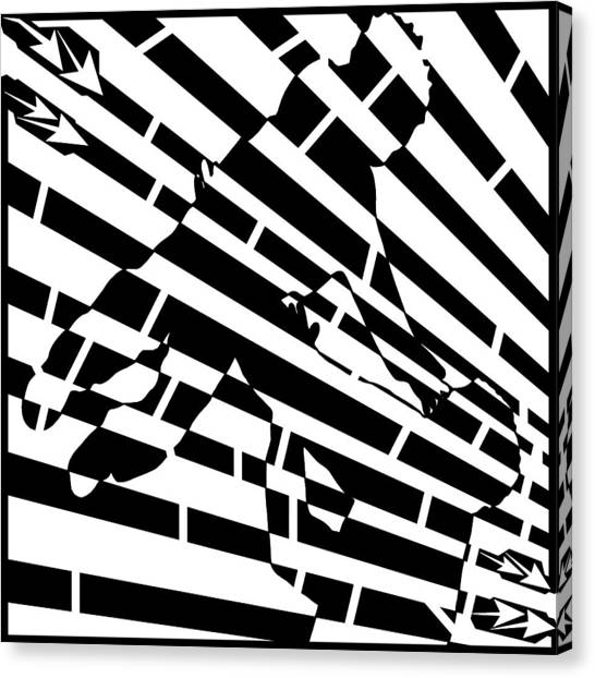 Abstract Distortion Childhood Joy Maze Canvas Print by Yonatan Frimer Maze Artist