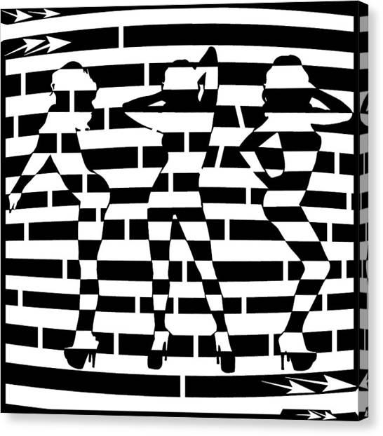 Abstract Distortion Dancin Girls Maze  Canvas Print by Yonatan Frimer Maze Artist