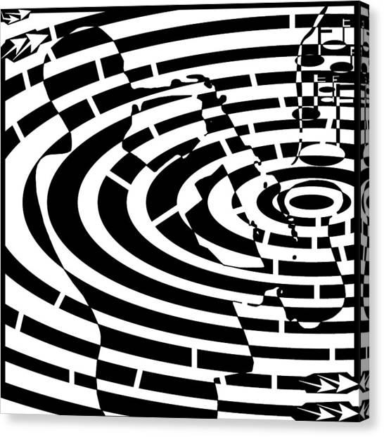 Abstract Distortion Jazz On Saxophone Maze  Canvas Print by Yonatan Frimer Maze Artist