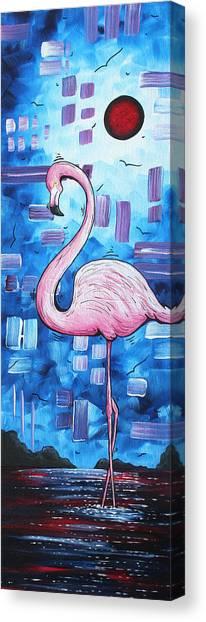 Carribbean Canvas Print - Abstract Flamingo Tropical Art Original Painting Flamingo Dreams By Madart by Megan Duncanson